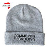 Newly Fashion Warm Embroidery Knitted Beanie Cap Hat Grey