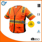 Class 3 Safety Vest with Reflective Radio Loop Multi-Pockets