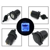 Portable Waterproof Blue LED 12-24V Car Motorcycle Cigarette Lighter Socket Dual USB Power Adapter Charger Outlet
