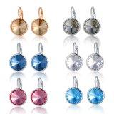 Latest Gold Blue Stone Crystal Jewellery Stud Woman Earring