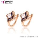 Popular Fashion Luxury CZ Gold-Plated Jewelry Square Four-Point Stars Hoop Earring - 28747