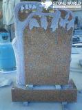 Beautiful Flower Scuptured Granite Tombstone