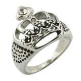 King Crown Ring CZ Gleu Stone Surgical Steel Jewelries