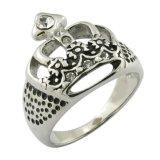 King Crown Ring CZ Gleu Stone Surgical Steel Jewelries