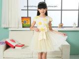 Girls′ Summer Short Sleeve Chiffon Dress Children Clothes with Cute Bow