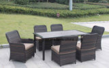 Wicker Furniture Outdoor Dining Table Set with Rattan Chair 0051 10mm Half Moon Curve Flat Wicker and 5mm Round Wicker