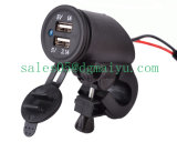 12V 2.1A Dual USB Motorcycle Socket with LED Light