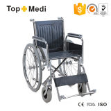 Cheap Transit Steel Wheelchair with Chromed Steel Frame