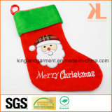 Quality Embroidery/Applique Velvet Merry Christmas Santa Style Stocking for Decoration