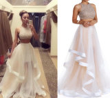 Sheer Prom Party Gowns Two Pieces Formal Evening Dresses Z609