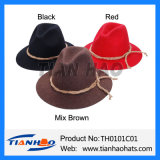 Wide Brim Fedora Mountain Apline Hat with Twine