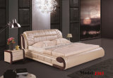 Comfortable Wooden Leather Double Bedroom Bed (J303)
