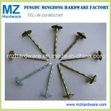 Yellow Zinc Umbrella Head Roofing Nail Twist Smooth Shank
