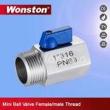 1PC Stainless Steel M/F Thread Mini Ball Valve Pn63
