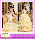 Custom Made Sweetheart Sleeveless Pick up Ball Gown Yellow Quinceanera Dresses (SR31)