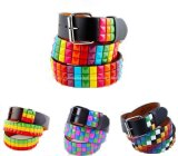 Rainbow Pyramid Stud Fashion PU Ladies Belts