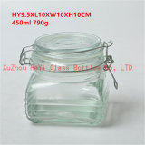 450ml Square Storage Glass Jar Small Square Glass Container for Food with Seal Lid