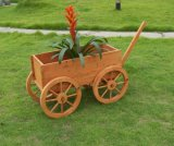 Colorful Antique Wooden Flower Pot with Handle
