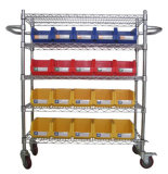 Noiseless Steel Wire Shelving Trolly with Plastic Bins for Sale