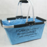 Folding Picnic Shopping Basket or Folding Picnic Cooler Basket with Aluminium Frame