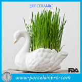Green Life Ceramic Swan Flower Pot