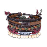 Fashion Adjustable Handmade Braided ′′believe′′ Leather Rope Bracelet