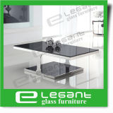 Oval Black Glass Coffee Table with Carved Stainless Steel Support