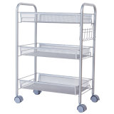3 Tier Adjustable Kitchen Storage Mesh Trolley Cart