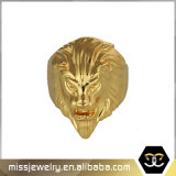 Hip Hop Style Gold Lion Head Ring Designs for Men