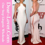2016 Lady Fashion Gold Chain White Chiffon Bodycon Long Dress