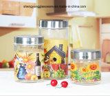 3PCS 800ml-200ml Decal Glass Jar with Metal Lid