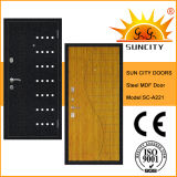 Top Quality MDF Inside Steel Armored Door with Veneer (SC-A221)