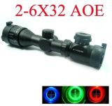 PRO Tactical Outdoor Sports 2-6X32aoe Red & Green & Blue DOT Sight Airsoft Aluminum Alloy Made Scope Riflescope