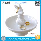 High Elegant Ceramic Cute Rabbit Jewelry Tray Home Decor