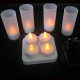 4 PCS/Set Rechargeable LED Flameless Flicker Tealight Candle for Birthday