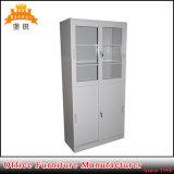 Double Swing Glass Door Display Steel Filing Cupboard Metal File Cabinet