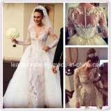 Long Sleeves Bridal Ball Gown Illision Vestidos Lace Tulle Wedding Dress L15342