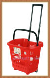 34L Colorful Plastic Trolley Shopping Basket for Supermarket