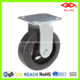 200mm Fixed Plate Black Rubber Heavy Duty Castor Wheel (D701-42D200X50)