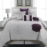7 Pieces Grey and Purple Unique Embroidery Comforter Bedding Set