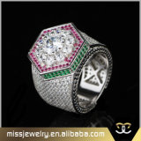 Ice Stacked Gold CZ Micro Pave Mens Rings