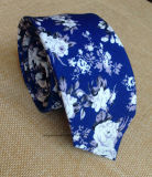 Blue and White Floral Cotton Necktie