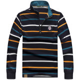 95% Cotton 5% Spandex 220GSM Pique Long Sleeve Yd Stripe Embroidery Custom Polo Shirts