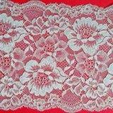 Customized White Net Jacquard Lace Polyester Fabrics