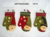 Christmas Decoration Santa Snowman Mitten, 3asst