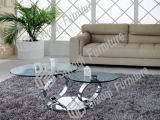 Couple Rings Style Temper Glass Coffee Table with Polished Chrome Finish (J6233-A)