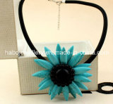 Glory Sunflower/Natural Stone Necklace/Fashion Tophus Necklace (XJW13376)
