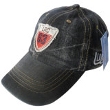 Washed Jeans Cap with Applique #06