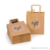 Eco Recyclable Flat Handle Brown Kraft Tote Paper Bag for Take Away Food and Gift Packaging
