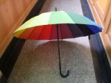 Rainbow Color Polyester Straight Umbrella